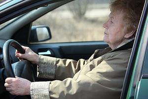 elderly woman drive in car